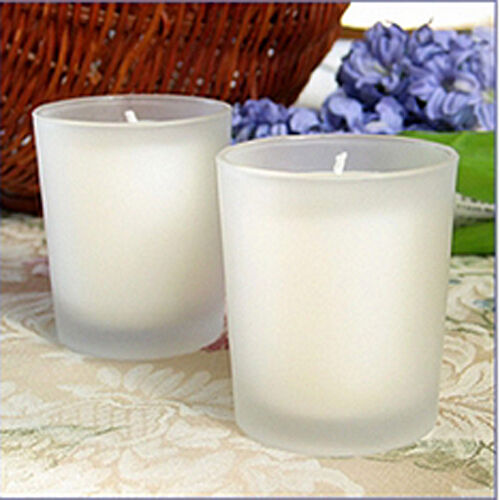 96 Weiß Wax Frosted Glass Holder Wedding Event Fuction Table Candles 10+hr burn