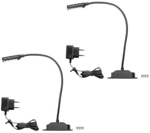 2 Ultrahelle LED Schwanenhals-Lampe zum anschrauben Leselampe Leuchte Flexilight