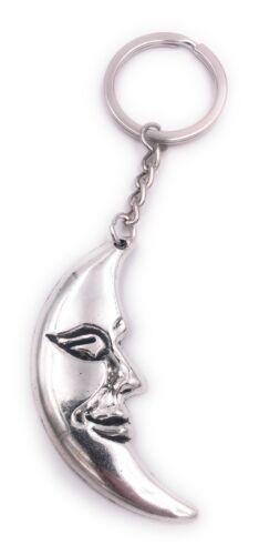Mond Halbmond mit Gesicht Schlüsselanhänger Anhänger Silber aus Metall