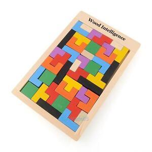New Wooden Tangram Brain Teaser Puzzle Tetris Game Educational Baby Kids Toys