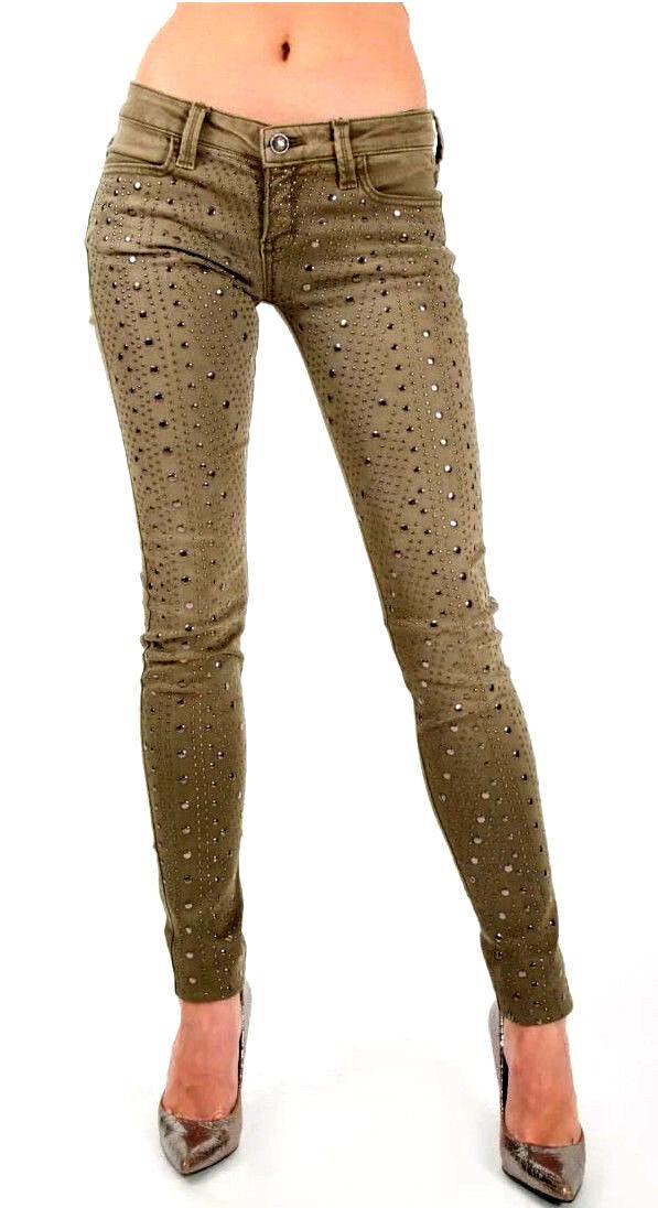 NEW Frankie B Womens Pants Stud Army Green Jeans Skinny 29