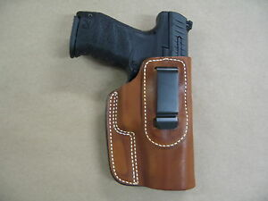 Walther-PPQ-9mm-40-IWB-Leather-In-The-Waistband-Concealed-Carry-Holster-TAN-RH