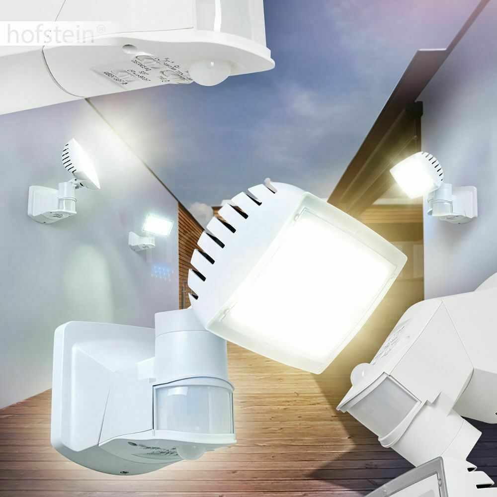 LED edle Aussen Wand Leuchten Hof Terrassen Einfahrt Lampe weiß Bewegungsmelder