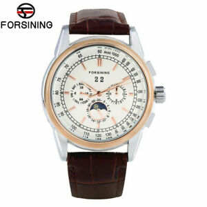 FORSINING-Leather-Strap-Moon-Phase-Men-Self-Wind-Mechanical-Wrist-Watch-Gift