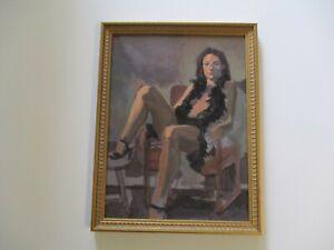 VINTAGE PORTRAIT OIL PAINTING MYSTERY ARTIST FEMALE PRETTY WOMAN WOMEN MODEL