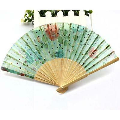 Fancy Wood Hand Fan Flower Painting Chinese Folding Present Party Gift Hand Fan