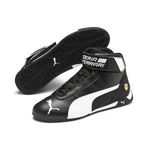 Sz-10-5-New-PUMA-Ferrari-R-Cat-Mid-Men-039-s-Black-white-Sneaker-Italy-Scuderia