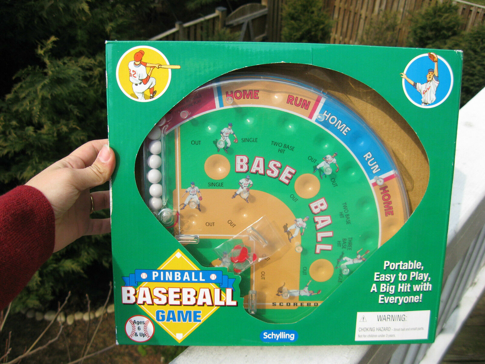 Schylling Baseball Pinball Game 2001 Opened Box Never Used With Sealed Players