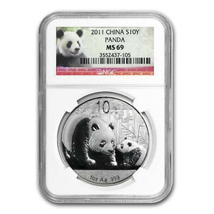 Chinese China ¥10 Panda 2011 1 oz .999 Silver Coin NGC MS 69 Early Releases