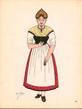 Gravure d'Emile Gallois costume des provinces françaises 1950 Nivernais
