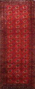 Vintage-Tribal-Geometric-Balouch-Afghan-Runner-Rug-Hand-knotted-Wool-Hallway-4x9