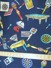 GAMES AT THE BILLARDS BY HOFFMAN CALIFORNIA COTTON FABRIC FH-3038 BY YARD DECOR