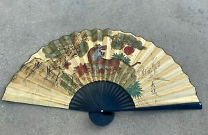 Vintage-Chinese-Large-Wall-Fan-Asian-Decor-Painted-amp-Signed-60-034