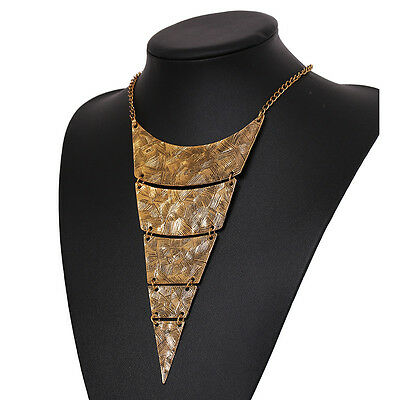 Vintage Triangle African Egyptian Tribal Bib Collar Statement Choker Necklace