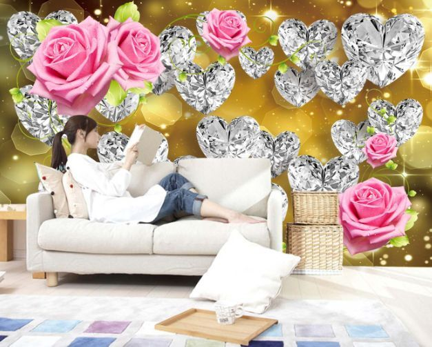 3D Golden Crystal Heart Paper Wall Print Decal Wall Wall Murals AJ WALLPAPER GB