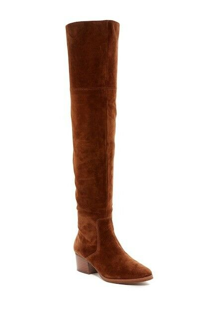 VIA SPIGA Ophira Boots Brown Suede Leather Tall Over The Knee SZ 5.5 NEW $495