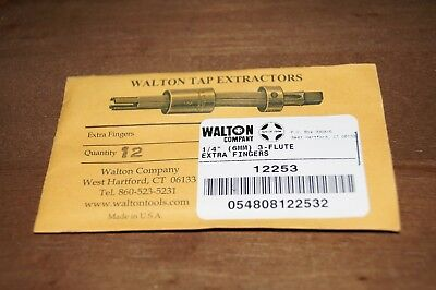 "Walton 12503  Set of 3 Tap Extractor Replacement Fingers 1//2/""  3 Flute USA MADE"