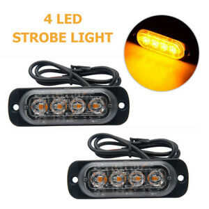 2X-4-LED-Advertencia-del-camion-del-coche-Luz-intermitente-emergencia-Luz-Ambar