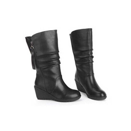 Les femmes hiver chaud à Talon Haut Hauteur Mi-Mollet Loisirs Slip-On Polaire Neige Botte Chaussure