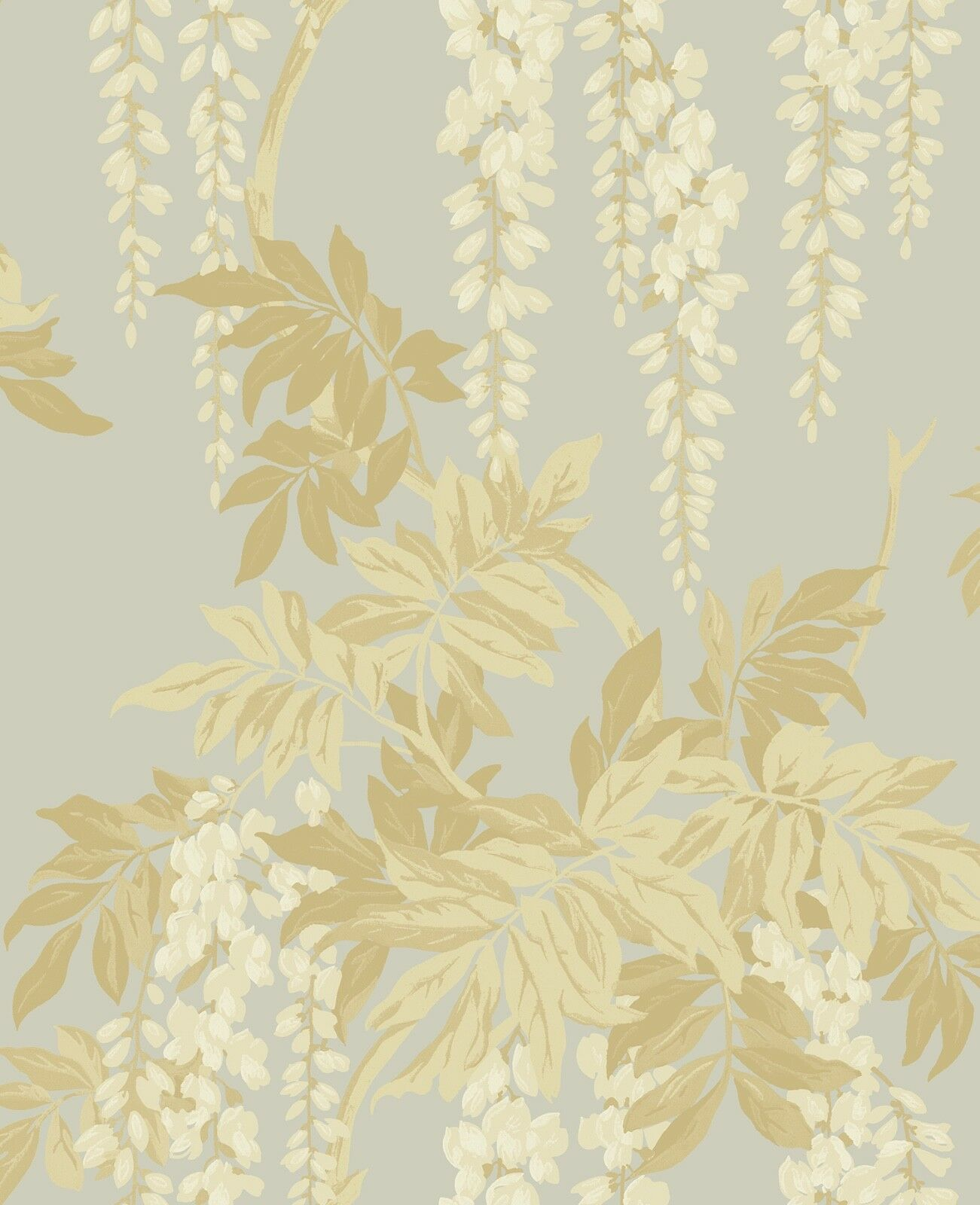 Floral Vintage Wallpaper Gold Silver Victorian Wisteria Blossoms