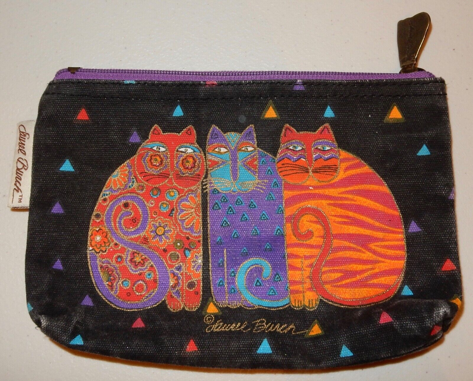 Laurel Burch Cat Tote Bag & Pouch Used - image 2