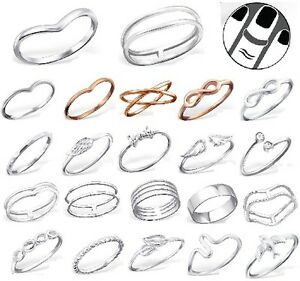 Sterling-Silver-925-Simple-Chevron-Stacking-Midi-Ring-Toe-Knuckle-Top-Finger-New