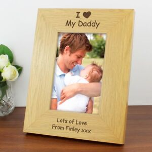Personalised-Oak-I-Heart-Daddy-Grandad-Photo-Frame-6x4-Birthday-Fathers-Day-Gift