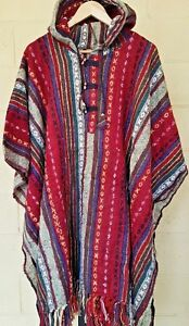 HUNTING-CAMPING-PERU-MEXICO-NEPAL-COTTON-PONCHO-BAJA-HIPPY-FESTIVAL-red