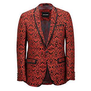 0eb8116c80c1 Mens Red Paisley Print Italian Designer Suit Jacket Fitted Blazer UK ...