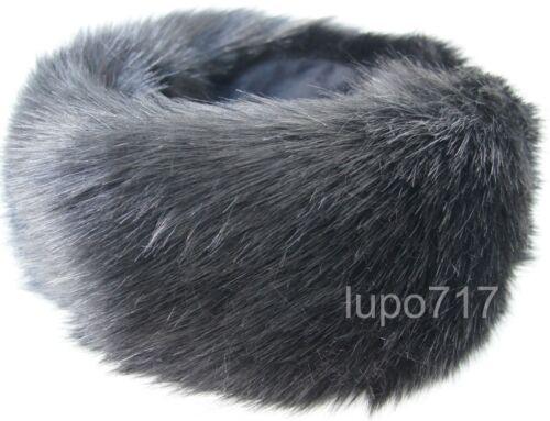 SMOOTH BLACK FLUFFY FAUX FUR HEADBAND HAT SKI EAR WARMER MUFF ONE SIZE 60.5-61CM
