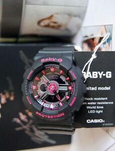 243977dbcb Details about BRAND NEW CASIO G-SHOCK BA111-1A BABY-G BLACK/PINK WOMAN'S  WATCH NWT!!!!