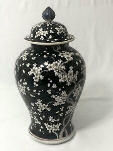 NIPPON Vintage Urn & Lid Black White Flower Blossoms Japanese Porcelain Large