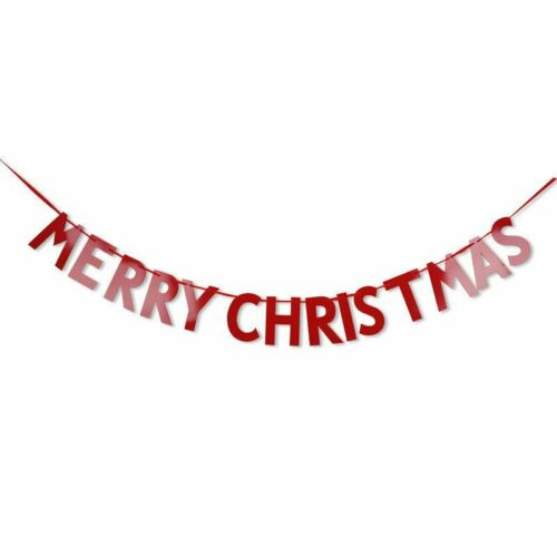 Merry Christmas Typography Banner Bunting Garland Hanging Xmas Party Decorations