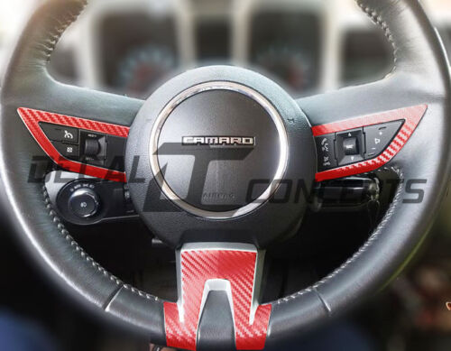 2010-2012 Camaro RED Carbon Fiber Full Steering Wheel Accent Decal Cover Wrap