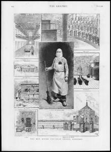 1887-Antique-Print-BELGIUM-Brussels-Cellular-Prison-Cells-Chapel-Bakery-159
