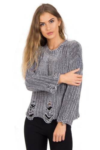 Womens Winter Chunky Soft Knitted Pullover Oversized Knitted Hole Design Jumper