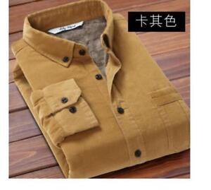 Corduroy-Fur-Men-039-s-Winter-Lined-Shirts-Warm-Tops-Long-Sleeves-casual-Coats