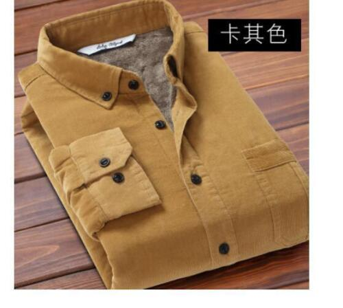 Winter Men/'s Corduroy Fur Lined Shirts Warm Tops Long Sleeves casual Coats