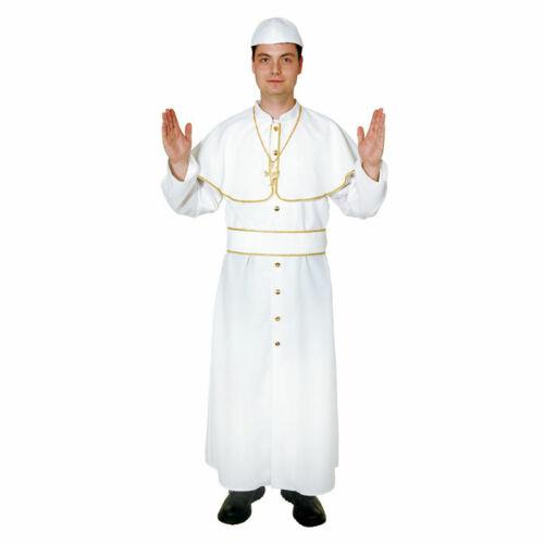 Herren-Kostüm Papst weiß mit Goldborte Gewand Gewand Kardinal Papstkostüm