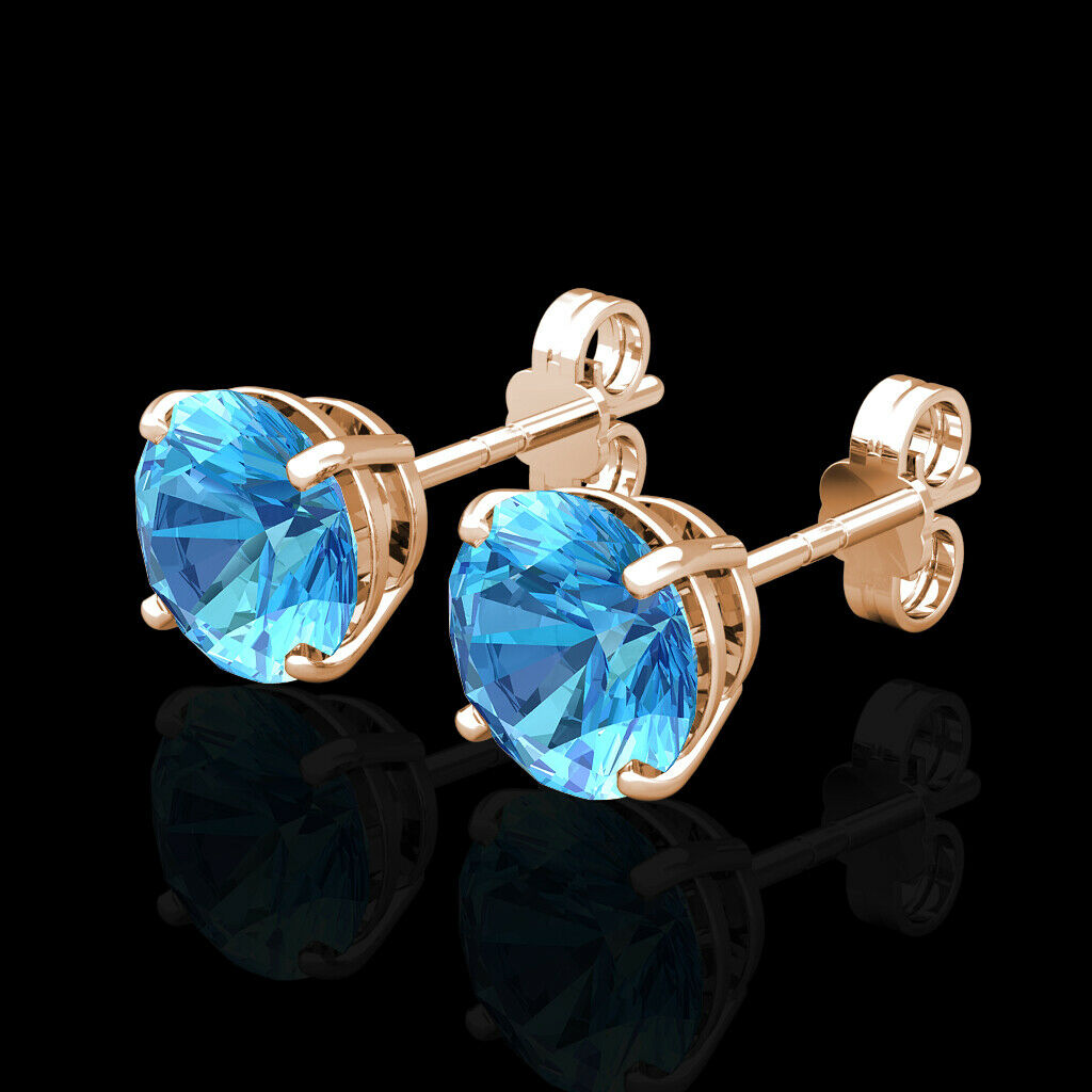 2CT Created bluee Topaz Earrings 14K Real pink gold Round Solitaire Basket Stud