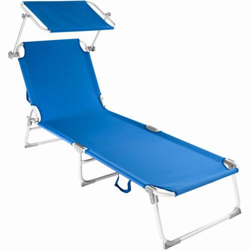 ALUMINIUM OUTDOOR GARDEN SUN LOUNGER FOLDING CHAIR BED RECLINER SUNSHADE BLUE