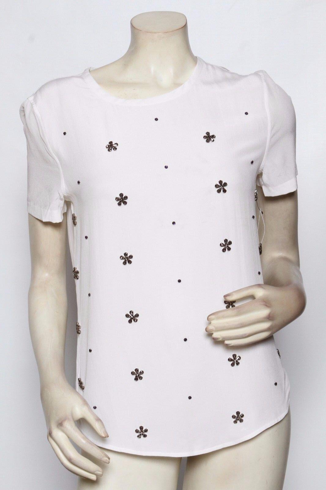 EQUIPMännerT Weiß Silk Beaded NORDSTROM oben Hemd - Größe XS