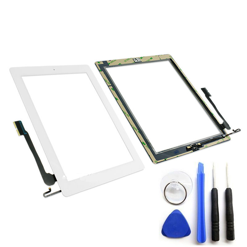 OEM Black Glass Touch Screen Digitizer Home Button For iPad 4 4th Tools Adhesive