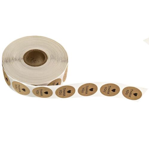 500x 2.5cm Kraft Aufkleber Papieretiketten Runde Danke Siegel für