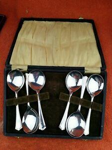 Art Deco EPNS Silver Plate 6 Piece Soup Spoons Set Cased