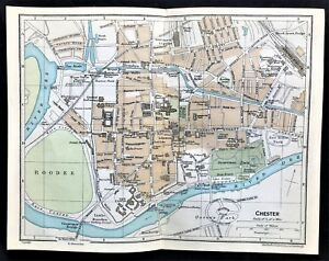 1926 Antique Color Map Chester Wales Uk Streets Detail 100