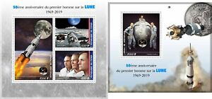 APOLLO-11-50TH-ANNIVERSARY-SPACE-NASA-MOON-NEIL-ARMSTRONG-MNH-STAMP-SET-2-SHEETS