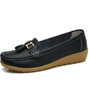 Womens-Flat-Comfy-Driving-Loafers-Moccasin-Oxford-Leather-Lazy-Peas-Shoes-Boat