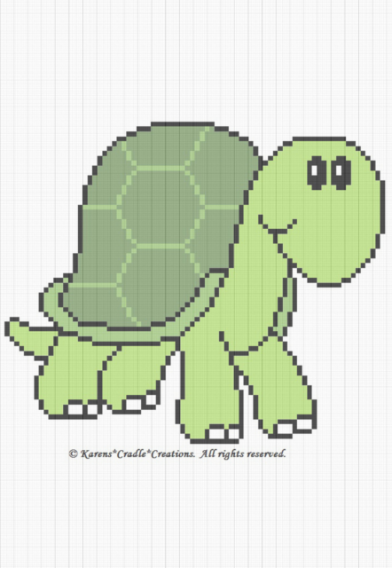 Crochet Patterns TURTLE Color Graph Baby Afghan Pattern