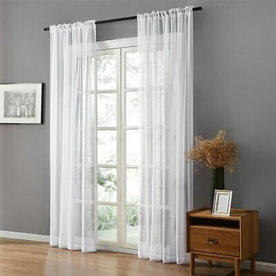 Solid White Tulle Sheer Window Curtains